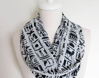 Egyptian hieroglyphics Pattern Infinity scarf, Circle scarf, Loop scarf, Scarves, Shawls, spring - fall - winter - summer fashion