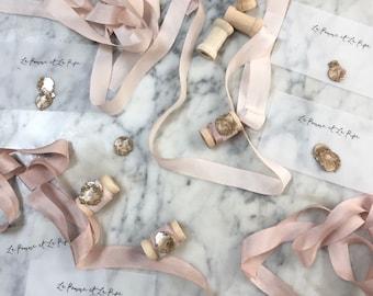 PRE ORDER | Hand dyed Silk Ribbon Sample, 1 Yard Hand dyed Silk Ribbon, Bouquet Silk Ribbon, Silk Ribbon, Blush Silk, Blush Ribbon, Blush