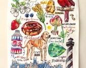North Carolina Tea Towel. State art. Illustration. Kitchen Decor.
