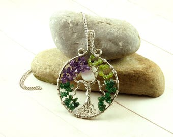 Family tree necklace, Birthstone pendant, Valentine's gift for mom, Tree-of-life jewelry, Mothers necklace, Wire wrapped tree-of-life