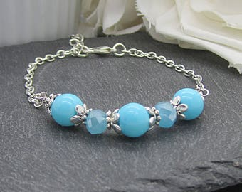 Aqua Pearl Bracelet, Aqua Bridesmaid Jewellery, Bridal Party Gifts, Wedding Jewellery Sets,Turquoise Wedding,