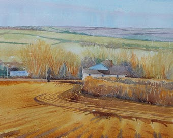English countryside landscape, ploughed fields, original watercolour of field furrows, farm and hills Cornwall, Cornish view, rolling hills
