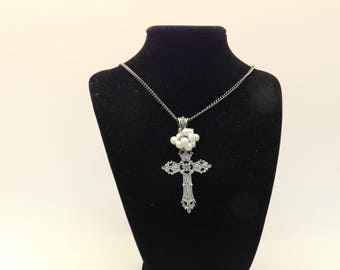 Silver Cross and Simulated Pearl Necklace