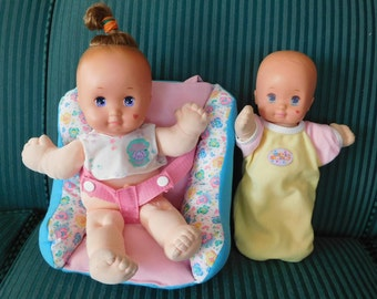 2 vintage Mattel MAGIC NURSERY DOLLS plus carrier