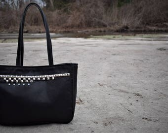 Pyramid Studded Black Leather Tote #19