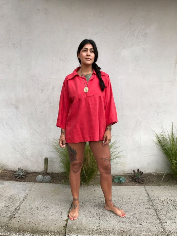 Vintage Unisex Red Pullover Shirt Tunic