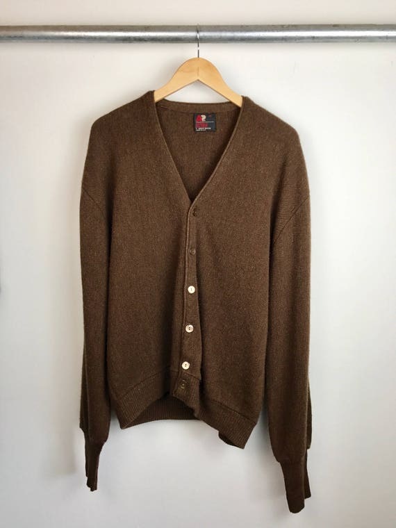 Vintage Men's Brown Cardigan Sweater