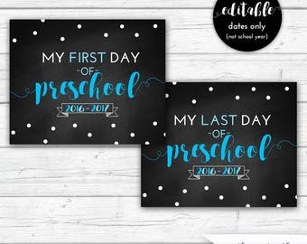 First Day of Preschool Sign, First Day of School, Last Day of Preschool, Boys, Back to School, Turquoise, INSTANT DOWNLOAD - Printable