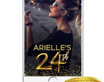 21st Birthday Snapchat Geofilter, Birthday Glowing Neon Party Gold Sparklers Snapchat Geofilter,Custom Confetti Gold Bokeh Birthday Snap