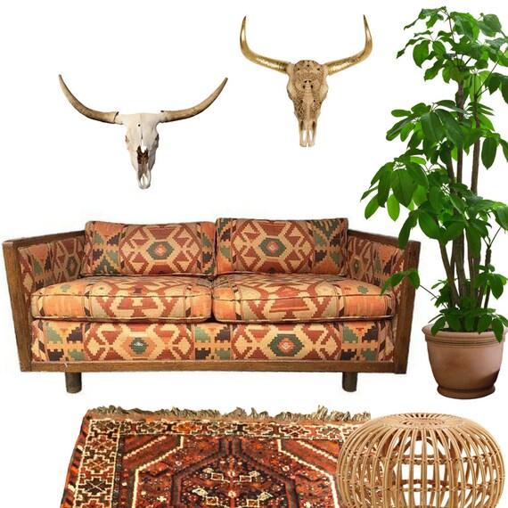 Items Similar To Vintage Bohemian Sofa Kilim Loveseat