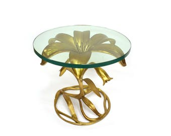 PERFECT CONDITION! Vintage Arthur Court Flower Table - Gilded Hollywood Regency End Table - Palm Beach Lilly Side Accent Table Glass Top -