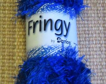 "eyelash yarn,""Fringy"" by Darice,Royal Blue,long lash,50 gm,100% polyester,texture yarn,art yarn,knitting,crochet,craft"