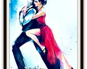 Romantic Dance Watercolor, Romantic Art Print, Romantic Bliss Illustration, Dance Gift, Tango Poster, Colorful Decor, Gift for Both, Couple