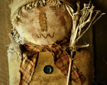 Primitive Grungy Fall/Autumn Scarecrow Sitter Doll with Crow