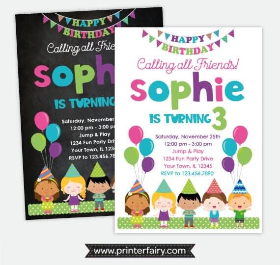 Friends birthday invitation birthday party invitation girls il570xn stopboris Choice Image