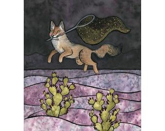 Coyote Star Thief  - coyote art - desert art - cactus art - mythology art - Giclee Print  - 8x10