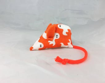 Halloween cat toy, Organic catnip mouse, ghost cat toy, white orange