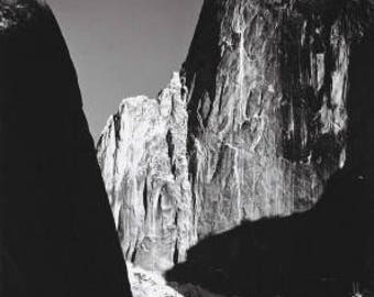 Ansel Adams, Moon and Half Dome Tribute, Yosemite Valley, Half Dome, clouds, mountains, black & white photo, fine art print poster