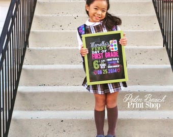 Personalized First Day of School Sign for Artist - Printable First Day of School Chalkboard Sign - First Day of School Sign for Girls