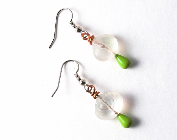 Iridescent Rainbow on White Glass Shell Beads on Copper Wire with Lime Green Headpins, Stainless Steel or Sterling Silver Ear Wires