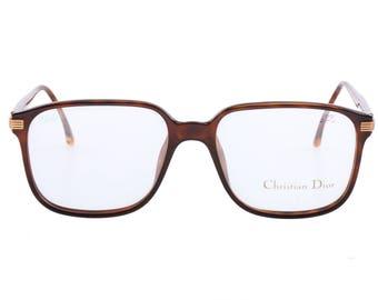 Christian Dior 2542 vintage squared tortoise eyeglasses frames made in Germany, 1980s NOS
