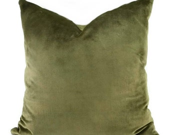 Khaki Velvet Throw Pillow Cover, Ralph Lauren Velvet
