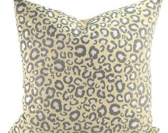 Gray, Ivory & Off White Chenille Cheetah Throw Pillow Cover, 20x20