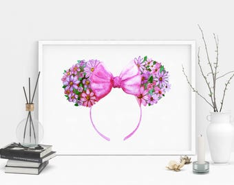 Minnie Ears Watercolor Style Print. Theme Park Mouse Ears Wall Art. Magical Home Decor. Animal Ears Headband.