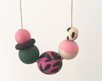 Handpainted Wooden Bead necklace | Pink vines | READY TO SHIP