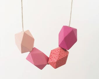 Handpainted Wooden Bead necklace | Pink geometric ombre | READY TO SHIP