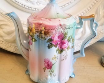 "Vintage PRUSSIA Pink Roses Floral Chocolate Coffee Tea Pot 8"" SHABBY Antique RS"