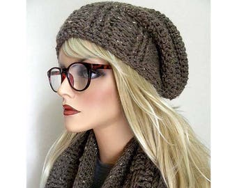 Winter Hat For Women, Slouchy Beanie Hat, Taupe Knit Hat, Bohemian Hat, Hand Crocheted Hats, Trendy Hats, Gift for Teens