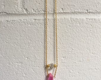 Pink Crystal Necklace on Gold