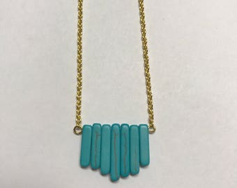 Turquoise and Gold Crystal Point Necklace