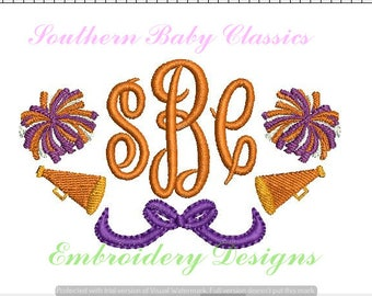 Cheer Cheerleader Megaphone Pom Pom Monogram Frame Bow Design File for Embroidery Machine Instant Download Girl Cute Fall Autumn