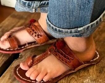 Adorable Vintage Indian Leather Pom Pom Girls Sandals 12