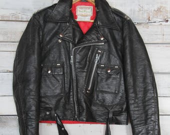 Insane Vintage Distressed Vegan Leather Biker Moto Jacket Medium