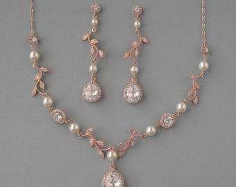 Genuine Swarovski, Cream Pearls, Cubic Zirconia, Necklace & Earrings Set, Leaves, Rose Gold Plated, Bridal Jewelry, Bridesmaid Gift - DK651