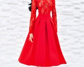 ELENPRIV red midi A-line skirt for Fashion royalty FR16 and similar body size dolls