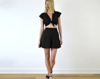 Ava Crop Top and Culottes. Co-ords Set. Top and Shorts Set. Retro Style. Elegant. Summer Clothes. Holiday Style. Two Piece
