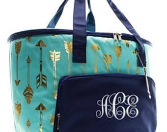 Personalized Mint Gold Arrow Large Cooler Bag Monogrammed Insulated Tote