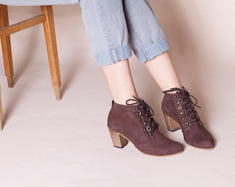 Lace Up Boots, Ankle Booties, Military Boots, Brown Leather Boots, Ankle Boots, Brown High Heel Boots, Leather Boots, Tom // Free Shipping