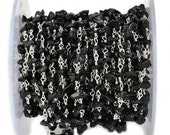 Black Spinel Nugget Chip Beads Rosary Chain with Silver Plated wire wrapped Rosary Chain by foot GemMartUSA (SPBS-30025)