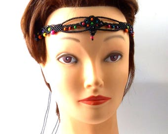 Head band macrame - ref: 0012 - toned black and multicolor