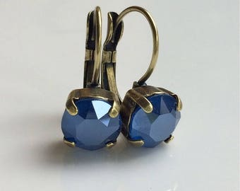 Royal Blue Rhinestone Prong Set Earrings Antiqued Brass Leverbacks