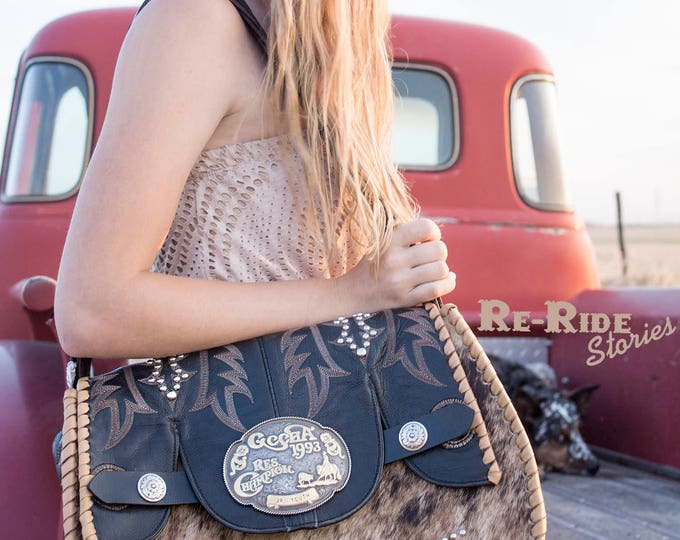 Featured listing image: Cowhide Buckle Purse- Black & Brindle