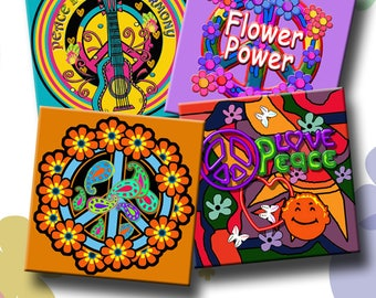 PEACE AND LOVE -  Printable Digital Collage Sheet 12 X 4 inch squares for Coasters, Greeting Cards, Gift Tags.  Instant Download #209.