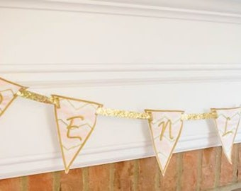 Custom Embroidered Baby Shower Name Banner ~ Gold & Pink