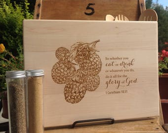 Bible Verse Cutting Board, Custom Chopping Block, Engraved Trivet