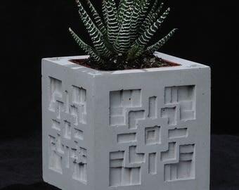 Cement Planter, Textile Block Design